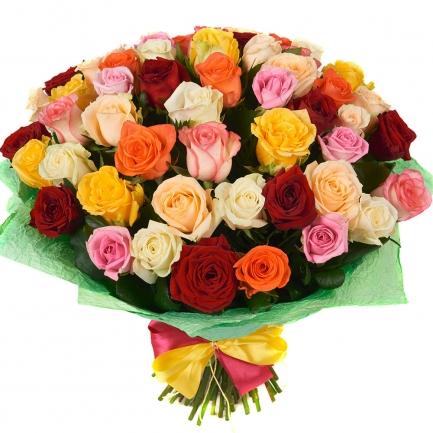 51 роза микс Эквадор