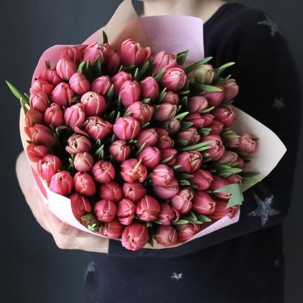 75 розовых тюльпанов